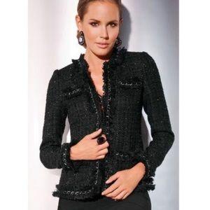 Boston proper black fringe tweed jacket